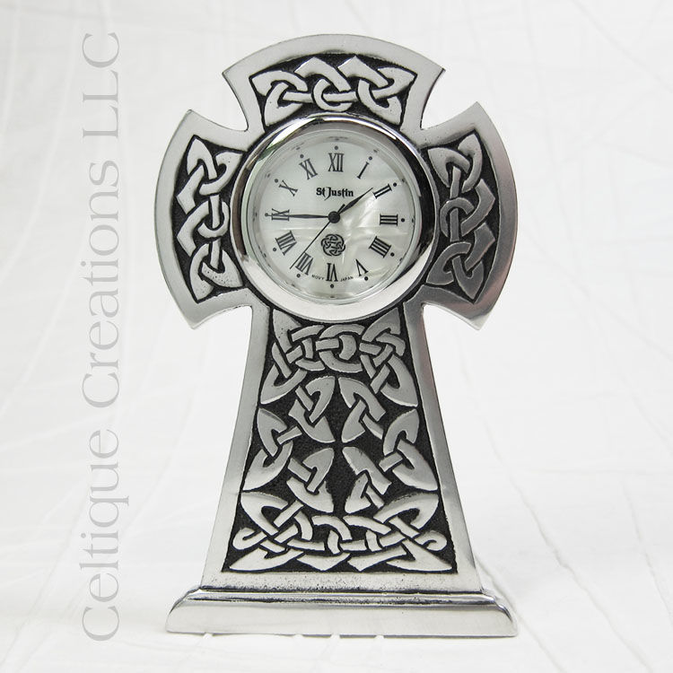 Celtic High Cross St. Justin Pewter Desk Clock - product images  of