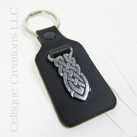 Celtic Knot St. Justin Pewter Key Ring - product images  of