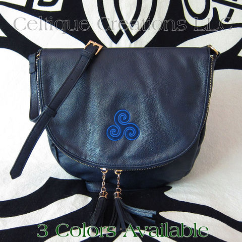 Celtic,Triskele,Sienna,Tassel,Crossbody,Purse,Celtic triskele Purse, Triskele Purse, Triple Spiral Purse, Triskelion Purse, Celtic Purse, Celtic Leatherette Purse, Vegan Leather Celtic Purse, Sienna Purse, Liv & Lou Purse, Celtique Creations