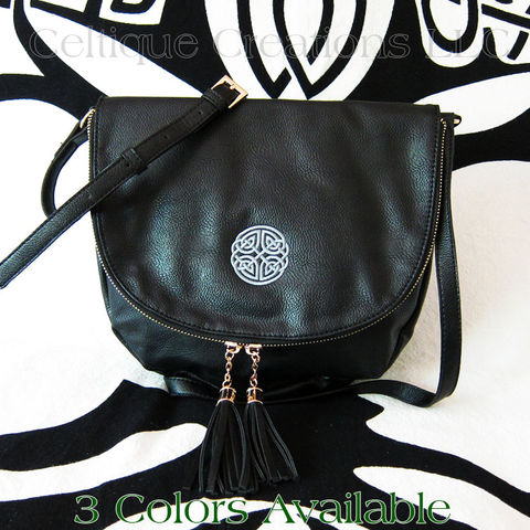 Celtic,Knot,Sienna,Tassel,Crossbody,Purse,Celtic Purse, Celtic Knot Purse, Celtic Knotwork Purse, Celtic Vegan Leather Purse, Celtic Embroidered Purse, Celtic Crossbody Purse, Liv & Lou Purse, Celtique Creations