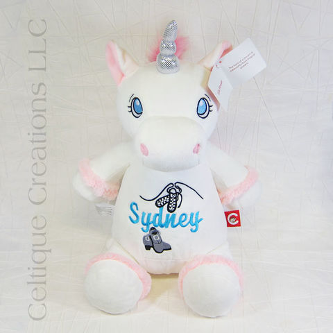 Personalized,White,Unicorn,Cubbies,Stuffed,Animal, Unicorn Stuffed Animal, Personalized Unicorn, Unicorn Personalized Gift, Cubbies, Cubbies Unicorn, Unicorn Stuffie, Celtique Creations