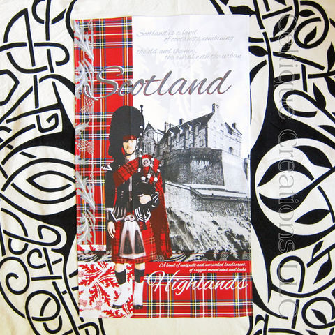 Heraldic,Scotland,Cotton,Tea,Towel,Scotland Tea Towel, Tartan Tea Towel, Thistle Tea Towel, Bagpipes, Piper, Edinbugh Castle, Cotton Tea Towel, Tea Towel, Kitchen Towel, Celtique Creations