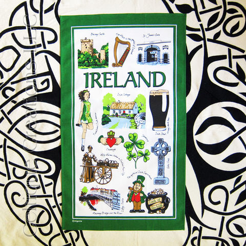 Iconic,Ireland,Cotton,Tea,Towel,Ireland Tea Towel, Images of Ireland, Symbols of Ireland, Tea Towel, Kitchen Towel, High Cross, Shamrock, Irish Dance, Celtique Creations