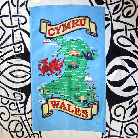 Wales,Cymru,Map,Cotton,Tea,Towel,Wales Tea Towel, Cymru Tea Towel, Wales Map Tea Towel, Cymru Map Tea Towel, Wales Illustrated Map, Tea Towel, Cotton Tea Towel, Kitchen Towel, Celtique Creations