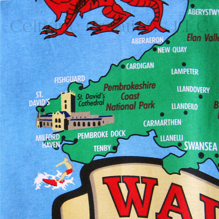 Wales Cymru Map Cotton Tea Towel - product images  of