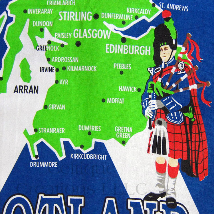 Illustrated Scotland Map with Saltire Tea Towel - product images  of