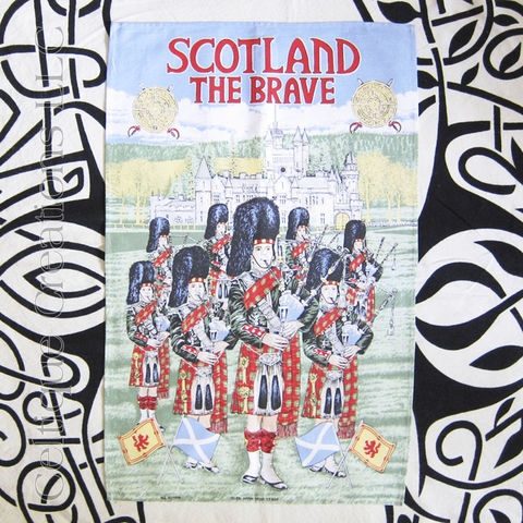 Scotland,the,Brave,Tea,Towel,Scotland Tea Towel, Bagpipe Tea Towel, Pipeband Tea Towel, Bag Pipes, Piper, Scotland, Castle, Tea Towel, Kitchen Towel, Cotton Towel, Celtique Creations