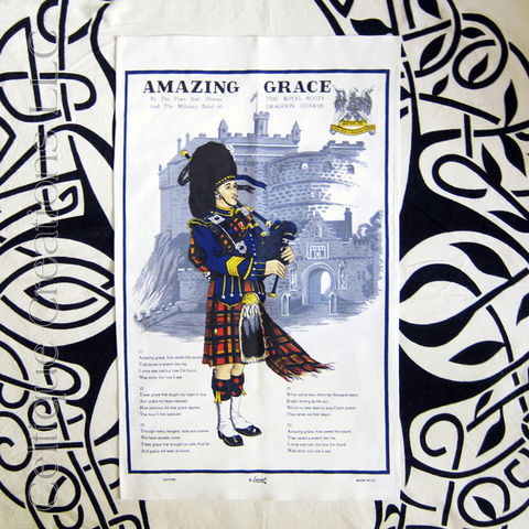 Amazing,Grace,Lyrics,with,Piper,Tea,Towel,Amazing Grace Lyrics, Amazing Grace Tea Towel, Scottish Piper Tea Towel, Bagpipes, Bag Pipes, Piper, Bag Piper, Scotland, Tea Towel, Kitchen Towel, Celtique Creations