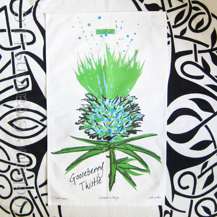 Gooseberry Scottish Thistle Cotton Tea Towel - product image