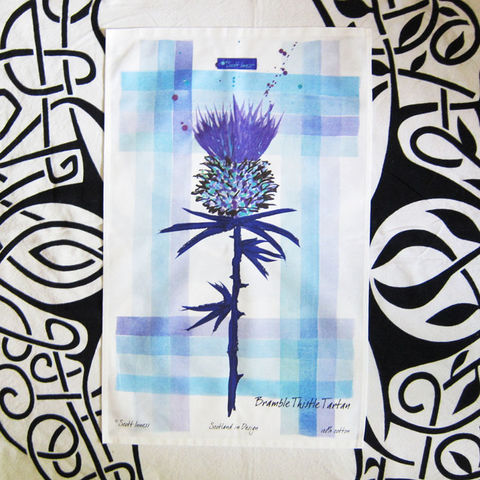 Thistle,with,Bramble,Tartan,Cotton,Tea,Towel, Flower of Scotland, Tartan, Plaid, Scotland, Scottish, Tea Towel, Kitchen Towel, Cotton, Modern, Celtique Creations