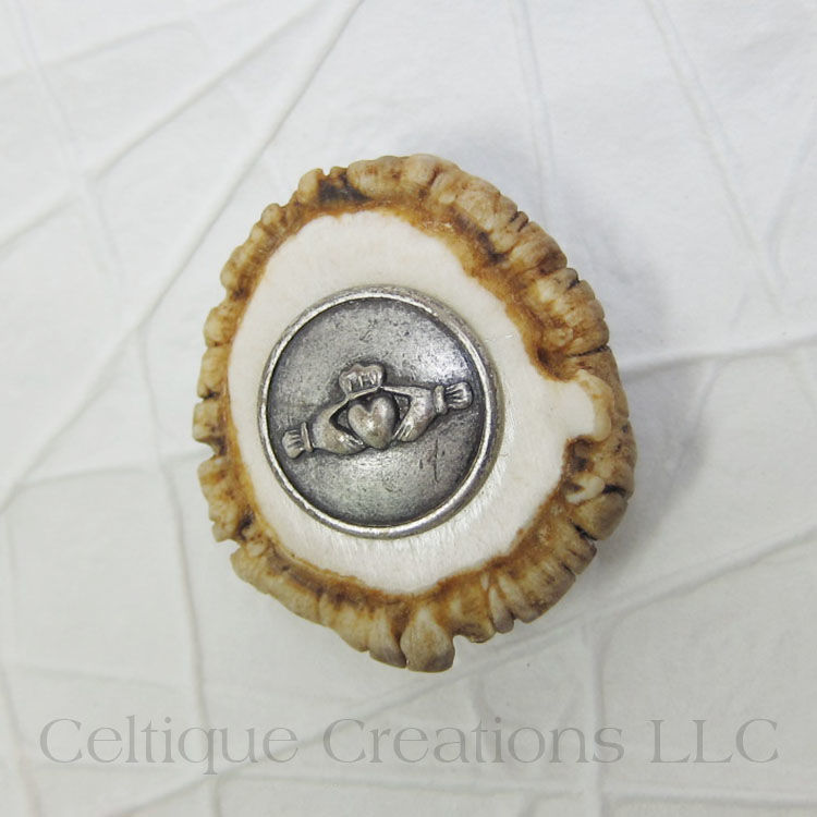 Handmade Deer Antler Kilt Pin with Claddagh - product images  of