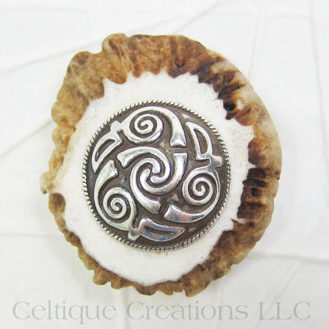 Celtic,Spiral,Handmade,Deer,Antler,Kilt,Pin, Spiral, Swirl, Kilt Pin, Cap Badge, Pin, Kilt Accessory, Handmade, Deer Antler, One of a Kind, OOAK, Celtique Creations