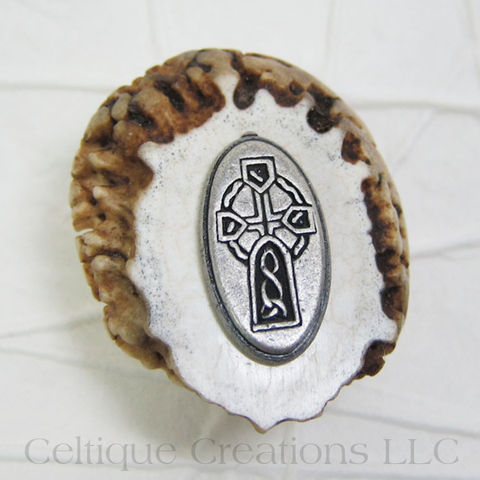 Celtic High Cross Handmade Deer Antler Kilt Pin Cap Badge - product images  of