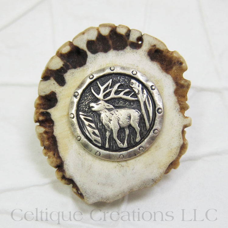 Stag Handmade Deer Antler Kilt Pin Cap Badge - product images  of
