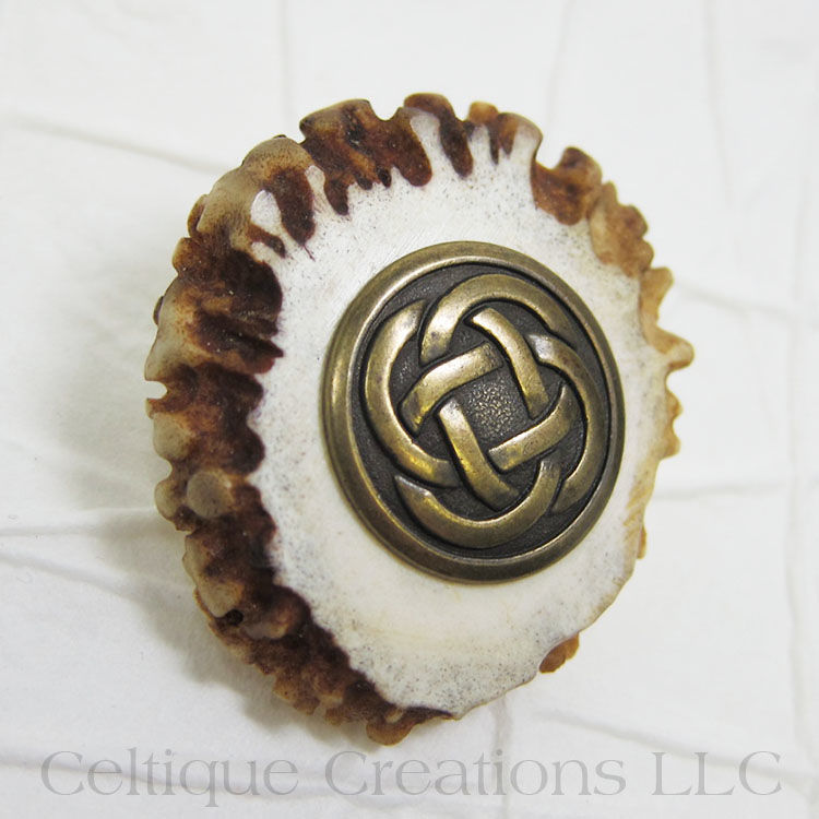 Celtic Handmade Kilt Pin Cap Badge Deer Antler Antique Brass - product images  of