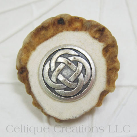 Celtic Handmade Kilt Pin Cap Badge Deer Antler Antique Silver - product images  of
