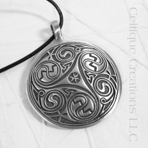 Large,Intricate,Triskele,Disc,Necklace,Celtic Triskele, Celtic Triple Spiral Necklace, Celtic Jewelry, Celtic Pewter Necklace, Triple Spiral, Triskele, Triskelion, Celtic Necklace, Celtique Creations