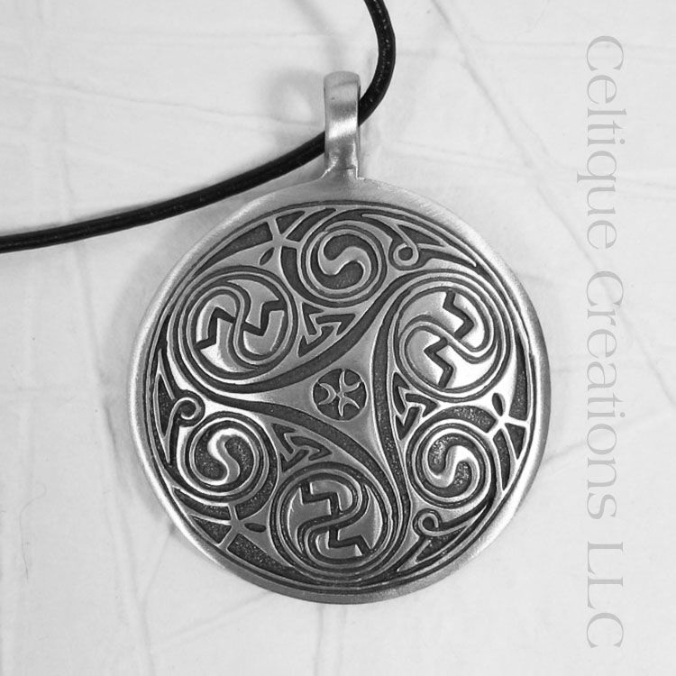 Large Intricate Triskele Disc Necklace - product images  of