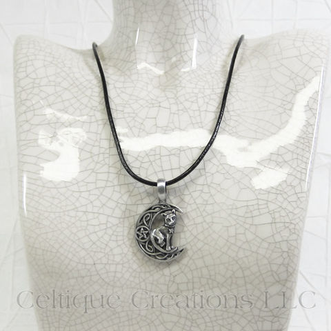 Celtic Moon with Cat Handmade Necklace - product images  of