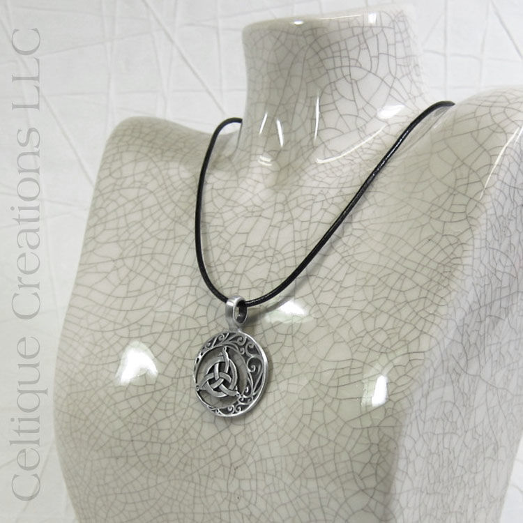 Trinity Knot with Crescent Moon Handmade Necklace - product images  of