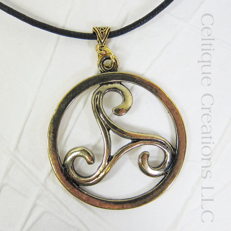 Gold Triskele Pewter Necklace - product images  of