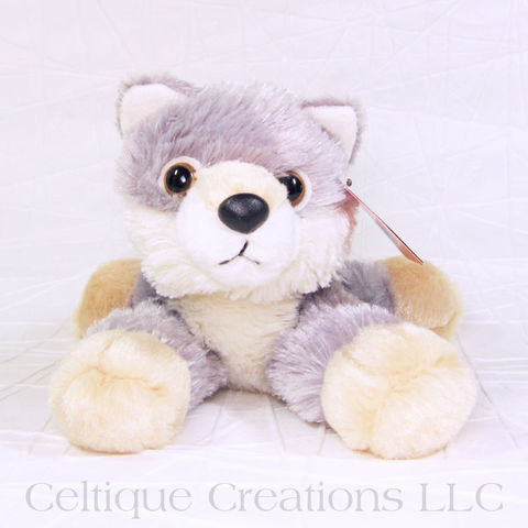Woolsey,Wolf,Mini,Flopsie,Stuffed,Animal, Wolf Stuffed Animal, Wolf Soft Toy, Canine, Stuffed Animal, Soft toy, Stuffy, Mini Flopsie, Aurora, Celtique Creations