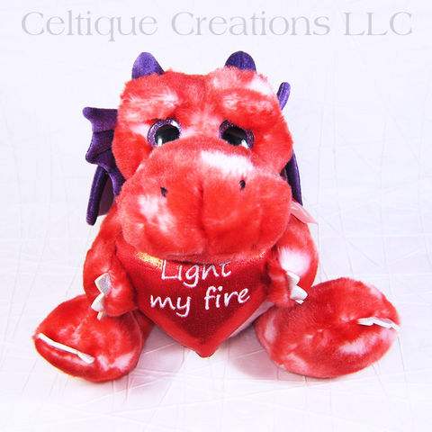 Light,My,Fire,Red,Dragon,Love,Valentine's,Day,Valentine's Day, Dragon, Red Dragon, Love, Stuffed Animal, Soft Toy, Stuffie, Light My Fire, Pun, Gift, Dragon Stuffed Animal, Aurora, Celtique Creations