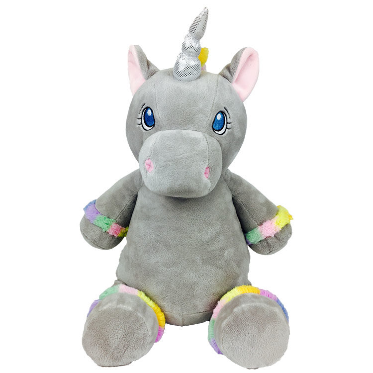 Personalized Gray Unicorn With Rainbow Hair Cubbies Stuffed Animal - product image