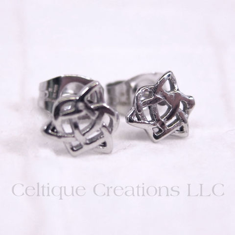 Trinity,Knot,with,Heart,Sisters,Post,Earrings,Trinity Knot, Trinity Knot Earrings, Heart Knot, Heart Earrings, Stainless Steel Jewelry, Stainless Steel Earrings, Celtic Knot, Celtic Earrings, Stud Earrings, Post Earrings, Celtique Creations