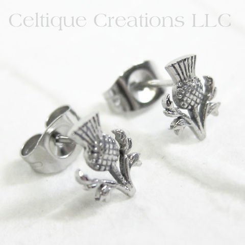 Wee,Scottish,Thistle,Post,Earrings, Scottish Thistle, Earrings, Post Earrings, Stud Earrings, Stainless Steel Jewelry, Stainless Steel Earrings, Celtic Jewelry, Celtic Earrings, Celtique Creations