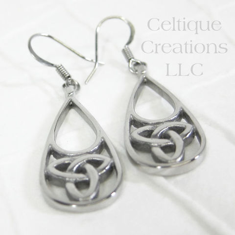 Trinity Knot Celtic Drop Earrings Stainless Steel - product images  of
