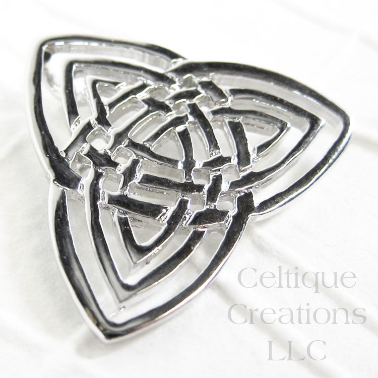 Triple Trinity Celtic Knot Brooch Pendant Pewter - product images  of