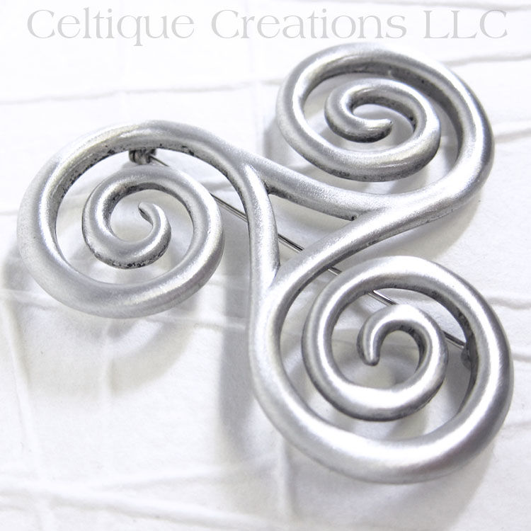 Large Celtic Triskele Brooch Pin Pewter - product images  of