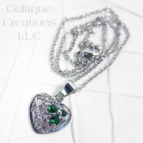 Irish,Heart,with,Shamrock,Cubic,Zirconia,Necklace,Irish Jewelry, Irish Necklace, Shamrock, Shamrock Necklace, Heart Necklace, Heart Jewelry, Love, Clover, Celtic, Necklace, Jewelry, Cubic Zirconia, Celtique Creations
