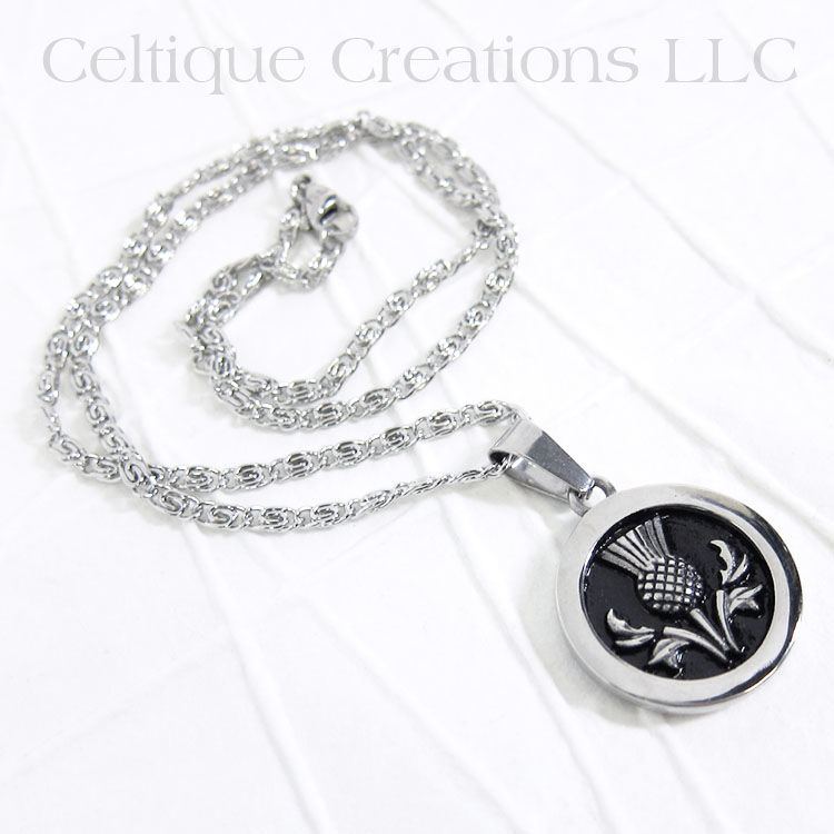 Bold Scottish Thistle Necklace Stainless Steel - product images  of