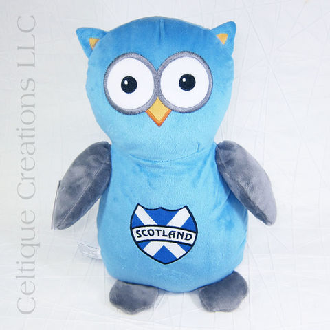Blue,Scotland,Owl,Stuffed,Animal,Embroidered,Cubbies,Owl Stuffed Animal, Owl Teddy Bear, Scotland Owl, Scotland Stuffed Animal, Blue Owl, Cubbies, Celtique Creations
