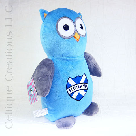 Blue Scotland Owl Stuffed Animal Embroidered Cubbies - product images  of