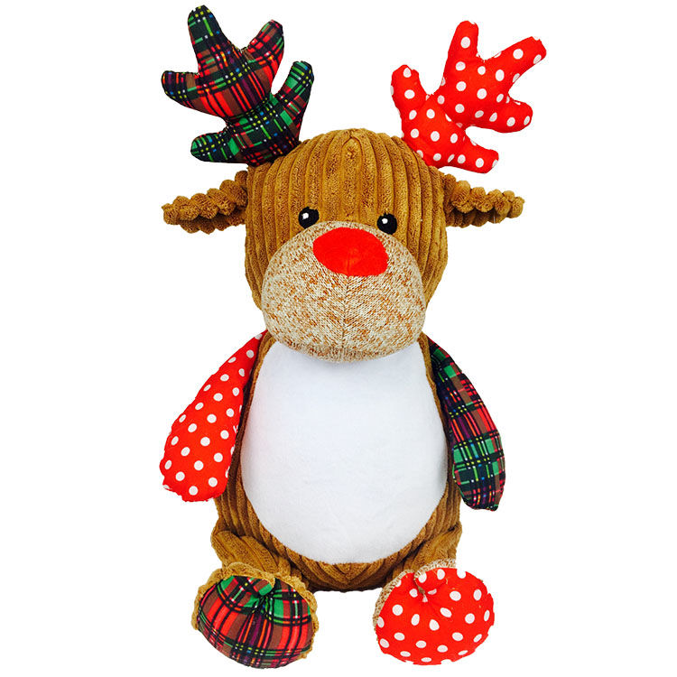 Personalized Patchwork Plaid Reindeer Cubbies Stuffed Animal - product image