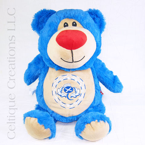 Scottish,Blue,Teddy,Bear,with,Thistle,Cubbies,Stuffed,Animal,Scottish Teddy Bear, Blue Teddy Bear, Thistle Teddy Bear, Scottish Thistle, Teddy Bear, Thistle, Saltire, St. Andrew's Cross, Celtic, Celtic Knotwork, Stuffed Animal, Soft Toy, Stuffie, Cubbies, Celtique Creations