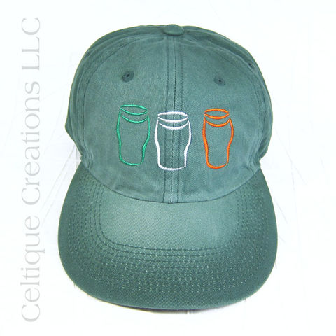 Irish,Flag,Pint,Glass,Baseball,Hat, Irish Flag, Ireland, Baseball Hat, Baseball Cap, Cap, Hat, Beer, Pint Glass, Pint, Tricolor, Green, Celtique Creations