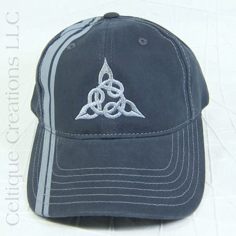 Celtic,Triquetra,Striped,Baseball,Cap,Celtic Knot, Triquetra, Triangle, Celtic, Knotwork, Baseball Cap, Baseball Hat, Hat, Cap, Gray, Embroidered, Celtique Creations