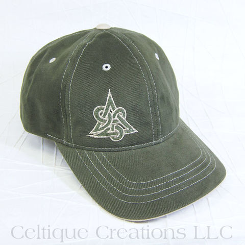 Celtic,Triquetra,Olive,Baseball,Cap, Triquetra Hat, Celtic Knot, Knot, Knotwork, Baseball Cap, Baseball Hat, Cap, Hat, Embroidered, Celtique Creations