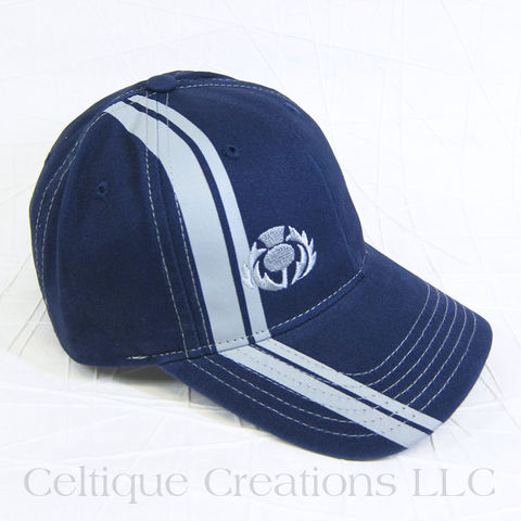 Scottish,Thistle,Navy,Striped,Baseball,Cap,Thistle Hat, Thistle, Scotland, Scottish, Baseball Cap, Baseball Hat, Hat, Cap, Flower of Scotland, Navy, Celtique Creations