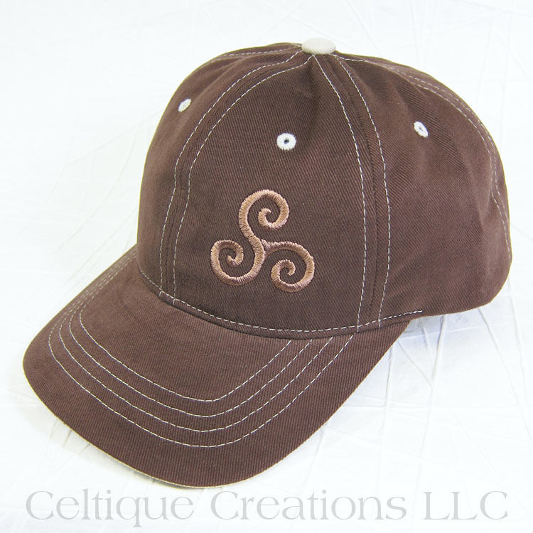 Celtic Triple Spiral Brown Baseball Cap - product images  of