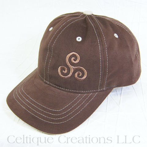 Celtic,Triple,Spiral,Brown,Baseball,Cap,Triskele, Triple Spiral, Triskelion, Celtic, Sprial, Baseball Hat, Baseball Cap, Cap, Hat, Embroidered, Celtique Creations