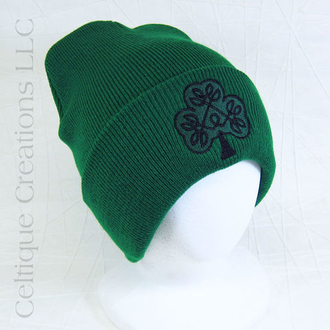Irish,Celtic,Shamrock,Kelly,Green,Winter,Hat, Ireland, Celtic, Celtic Knot, Winter Hat, Winter Cap, Knit Hat, Shamrock, Clover, Knotwork, Hat, Cap, Celtique Creations