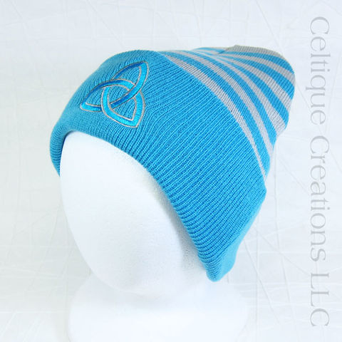 Trinity,Knot,Aqua,Gray,Striped,Beanie,Winter,Hat, Trinity Knot, Triquetra, Knot, Knotwork, Winter Hat, Winter Cap, Beanie, Knit Cap, Striped, Embroidered, Celtique Creations