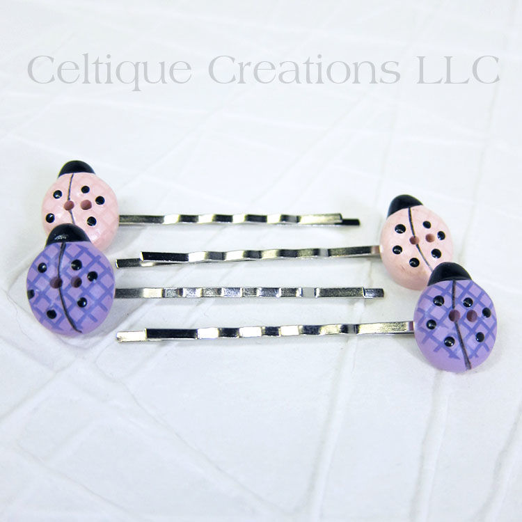 Plaid Lady Bug Bobby Pins Handmade Hair Accessories - product images  of