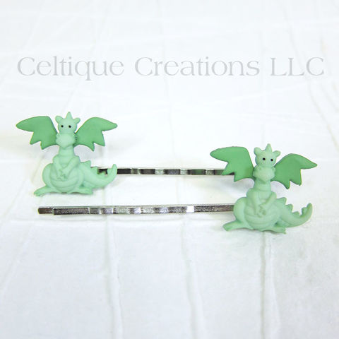 Cute,Dragon,Bobby,Pins,Handmade,Hair,Accessories, Green, Bobby Pin, Bobby Pins, Hair Slides, Hair Pins, Hair Accessories, Cute, Adorable, Handmade, Celtique Creations