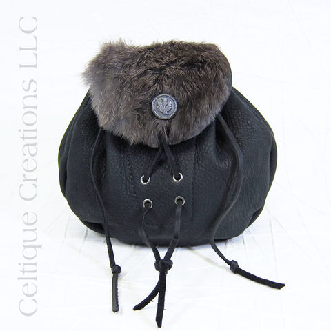 Handmade,Rabbit,Fur,Rob,Roy,Sporran,Black,Leather,Rabbit Fur Sporran, Sporran, Handmade, Kilt Accessory, Kilt, Rob Roy, Belt Pouch, Leather, Celtique Creations